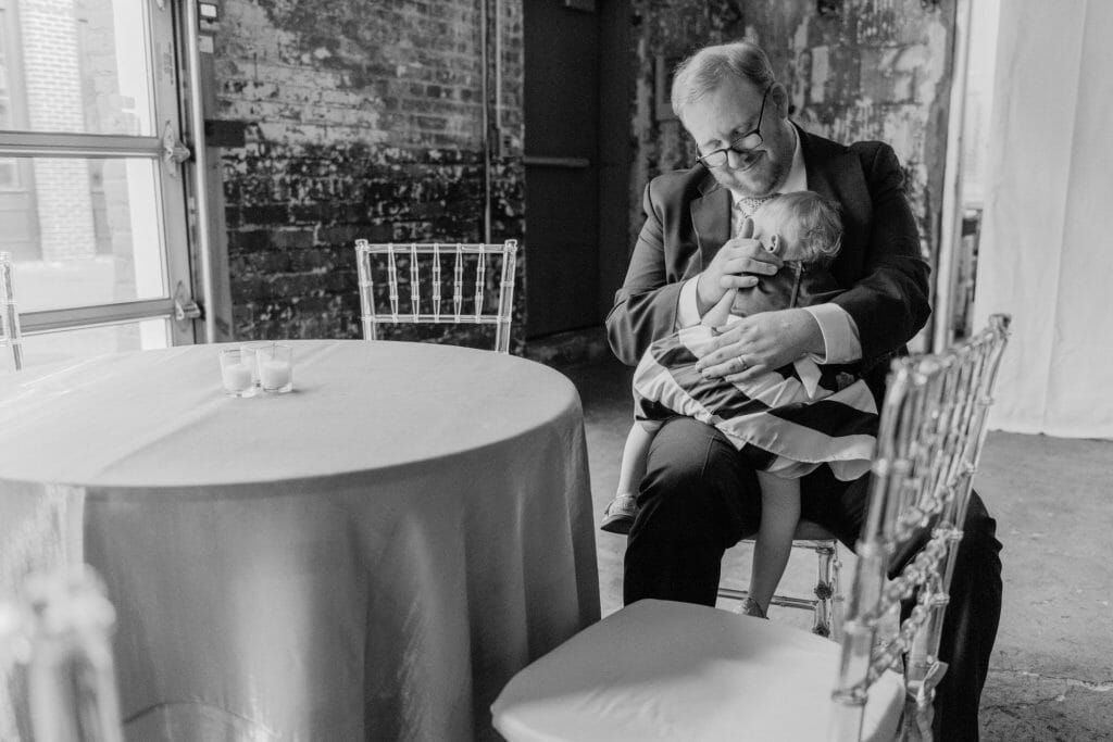 Long View Gallery DC LGBT Wedding Portraits Two Grooms Father comforting Daughter