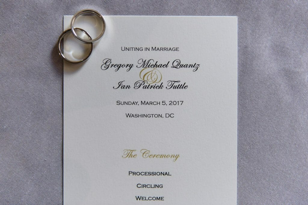 Long View Gallery DC LGBT Wedding Portraits Two Grooms Wedding Invite with Rings