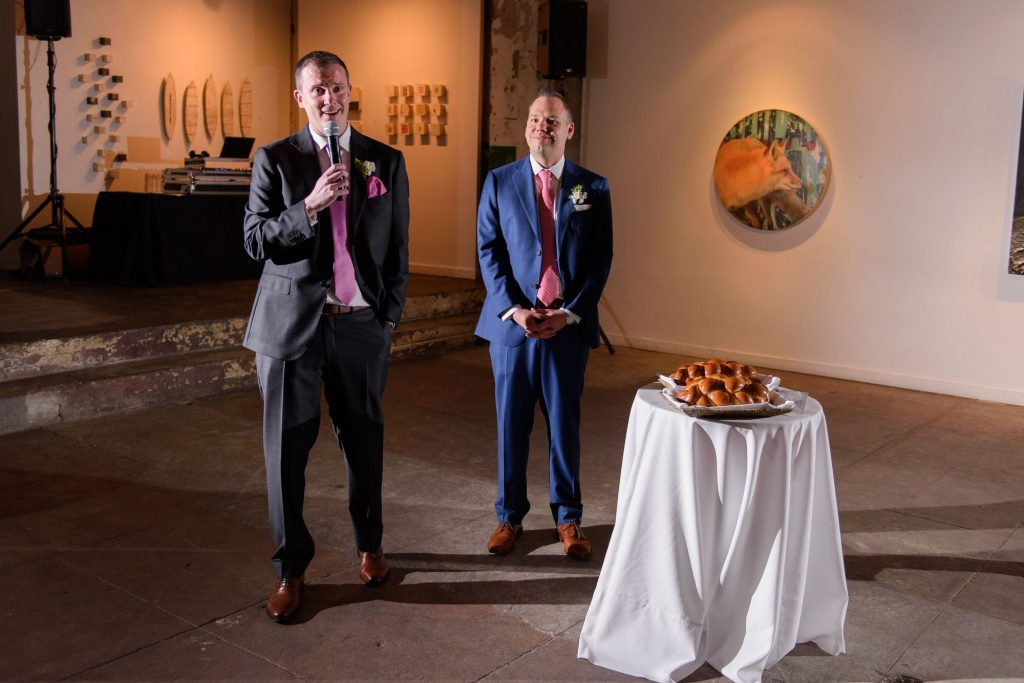 Long View Gallery DC LGBT Wedding Two Grooms Toast Speech and Challah