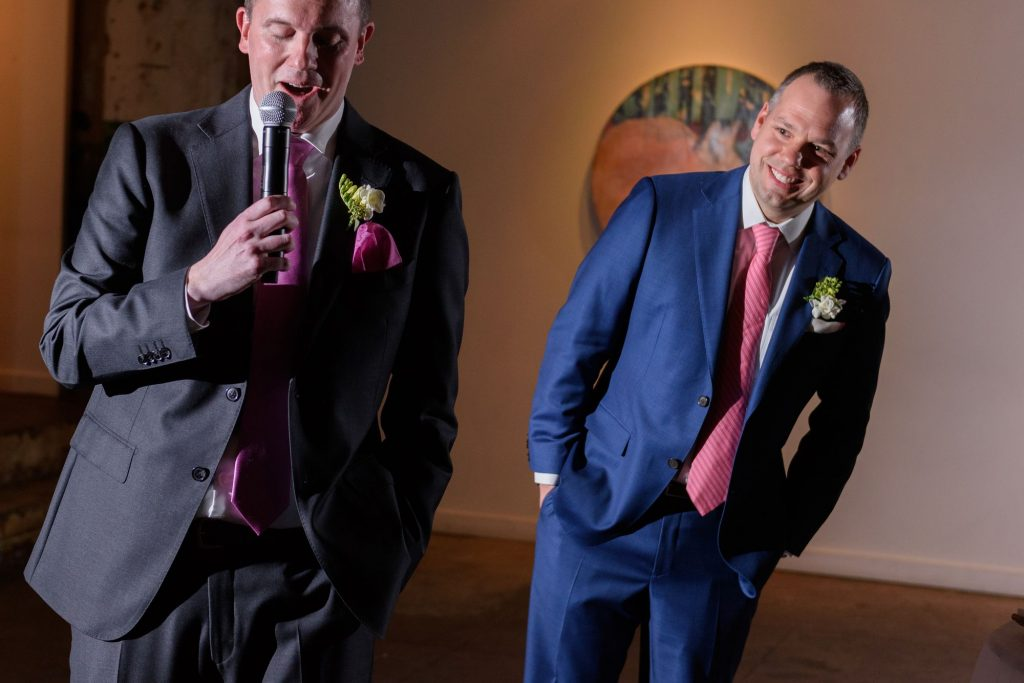 Long View Gallery DC LGBT Wedding Two Grooms Reception Toast and Speech