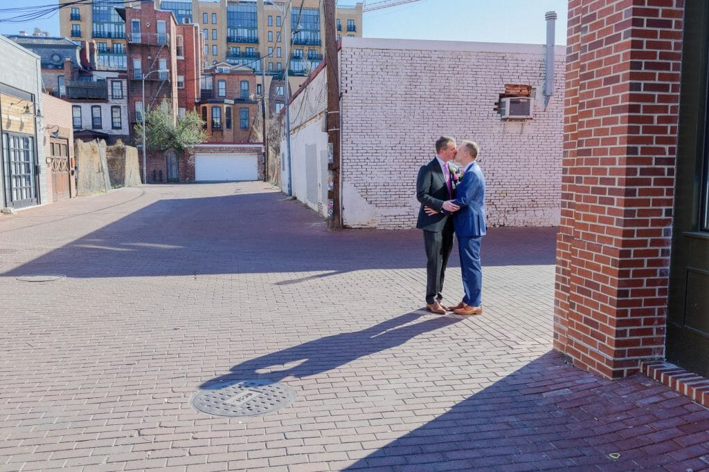 Long View Gallery DC LGBT Wedding Portraits Two Grooms in Blagden Alley