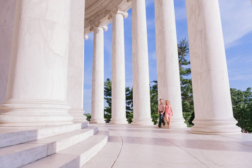 Sunset engagement shoot in-between the columns at the Jefferson Memorial in Washington, DC
