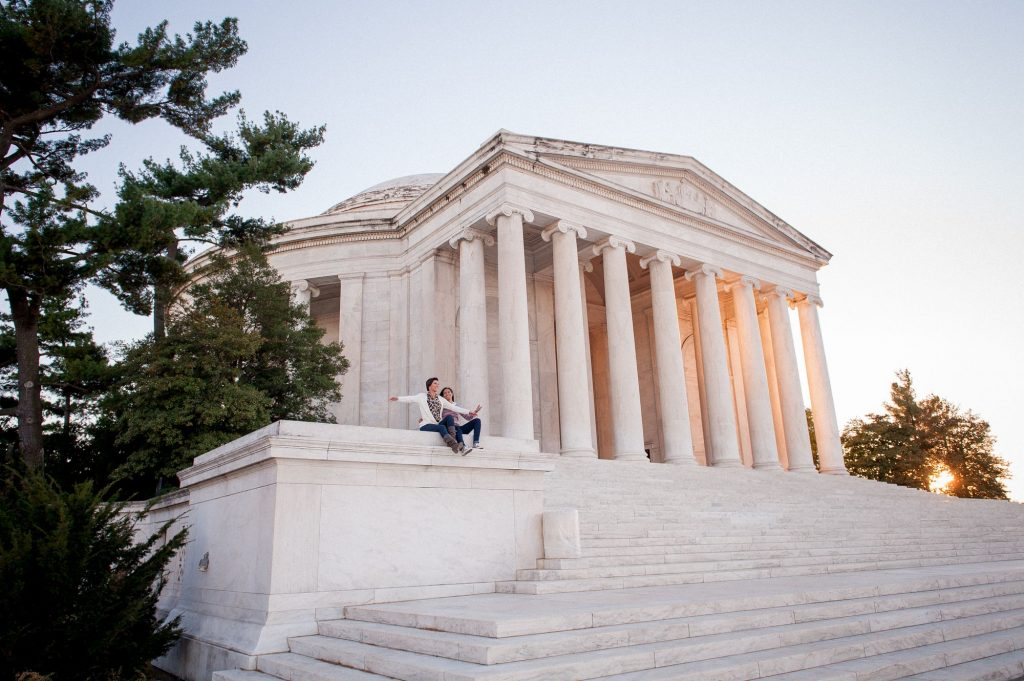 Lesbian sunset engagement shoot at the Jefferson Memorial in Washington, DC.