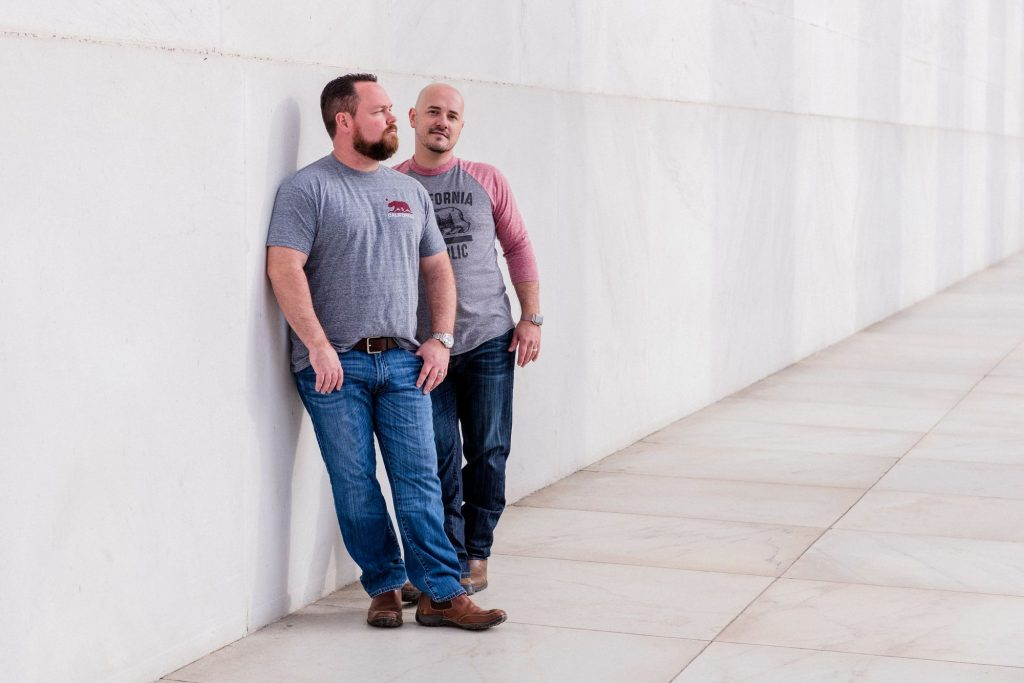 Gay engagement shoot at the back of the Lincoln Memorial in Washington, DC.