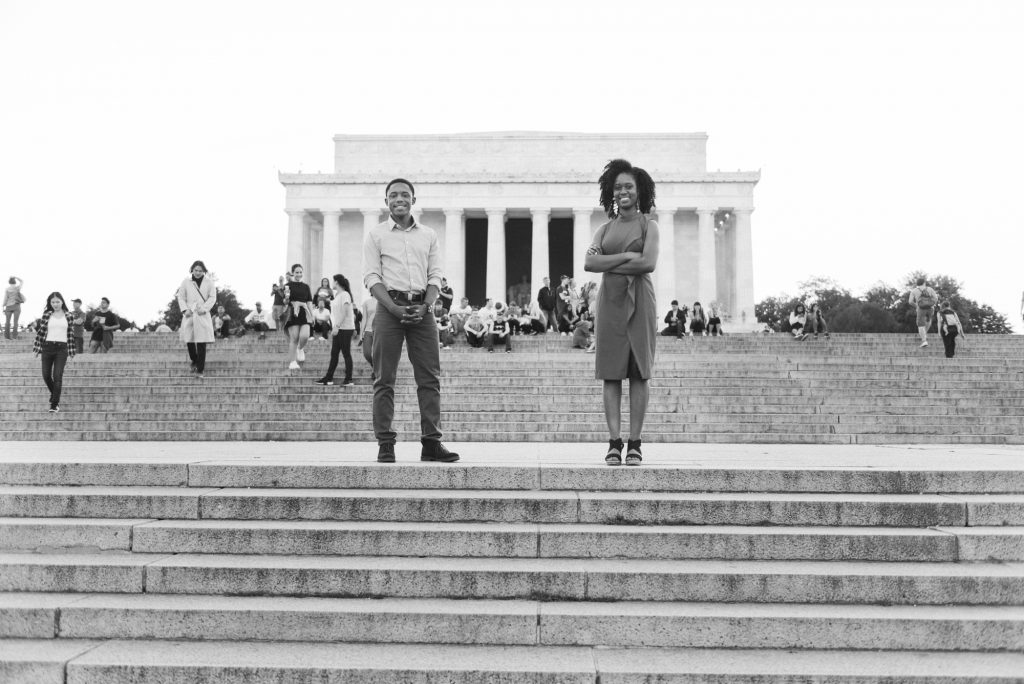 African american engagement shoot in the front of the Lincoln Memorial in Washington, DC.