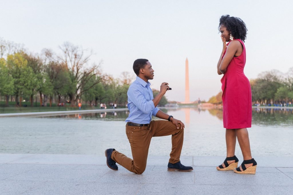 Marriage proposal on the steps of the Lincoln Memorial with the Washington Monument, National Mall, and Reflecting Pool in the background.