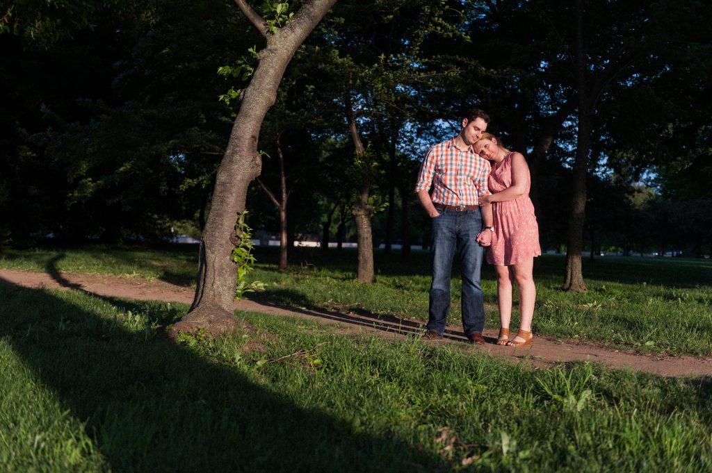 Sunset engagement shoot around the Tidal Basin in Washington, DC.