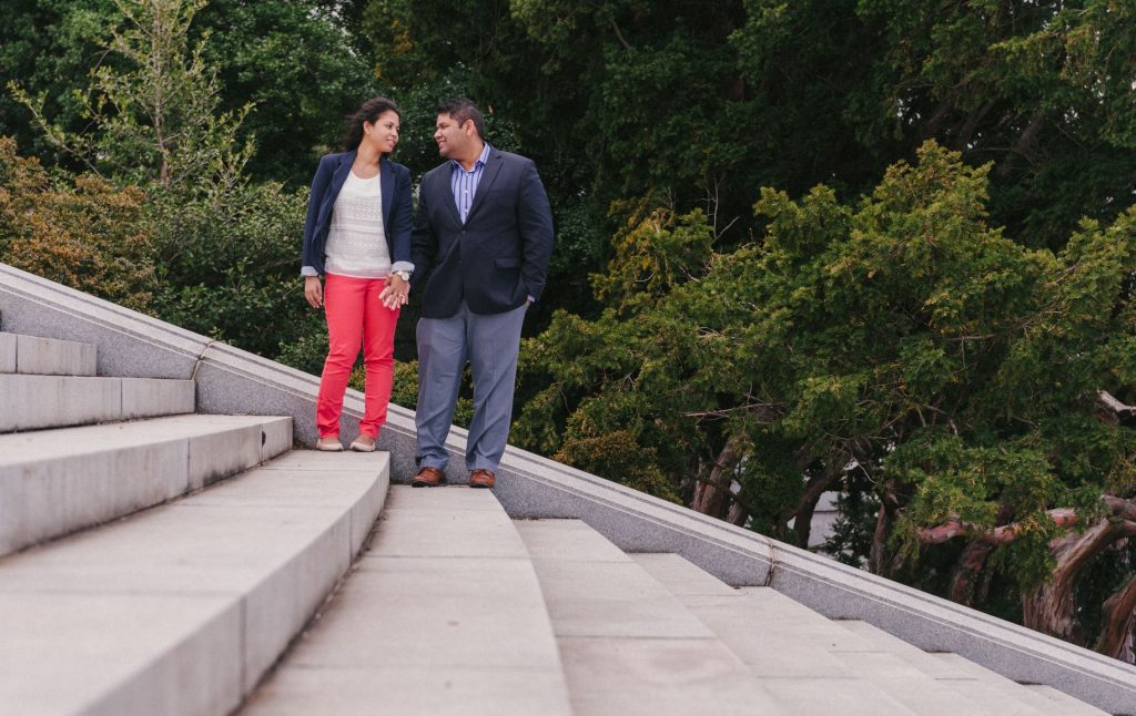 Indian engagement shoot on the Watergate Steps near the Potomac River in Washington, DC