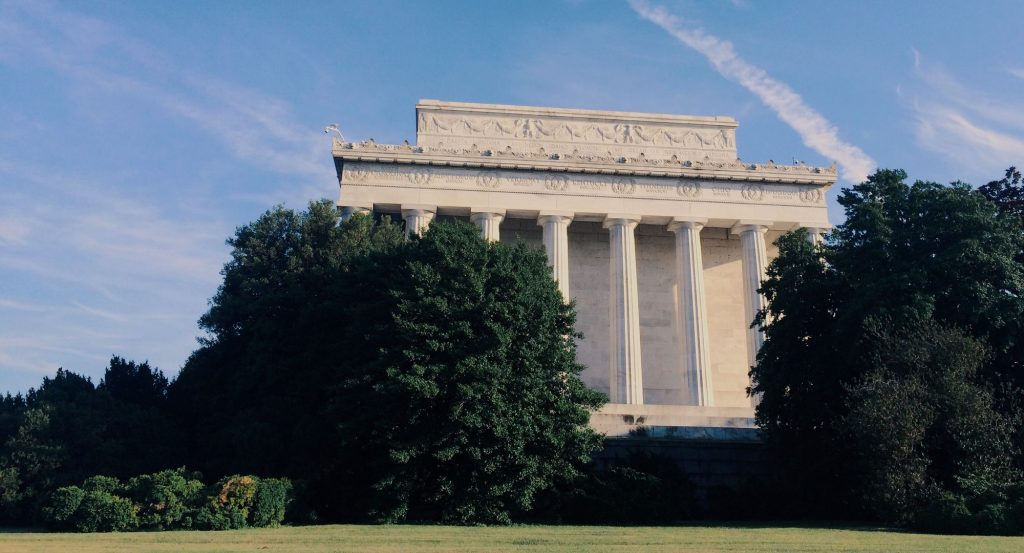 A side view of the Lincoln Memorial