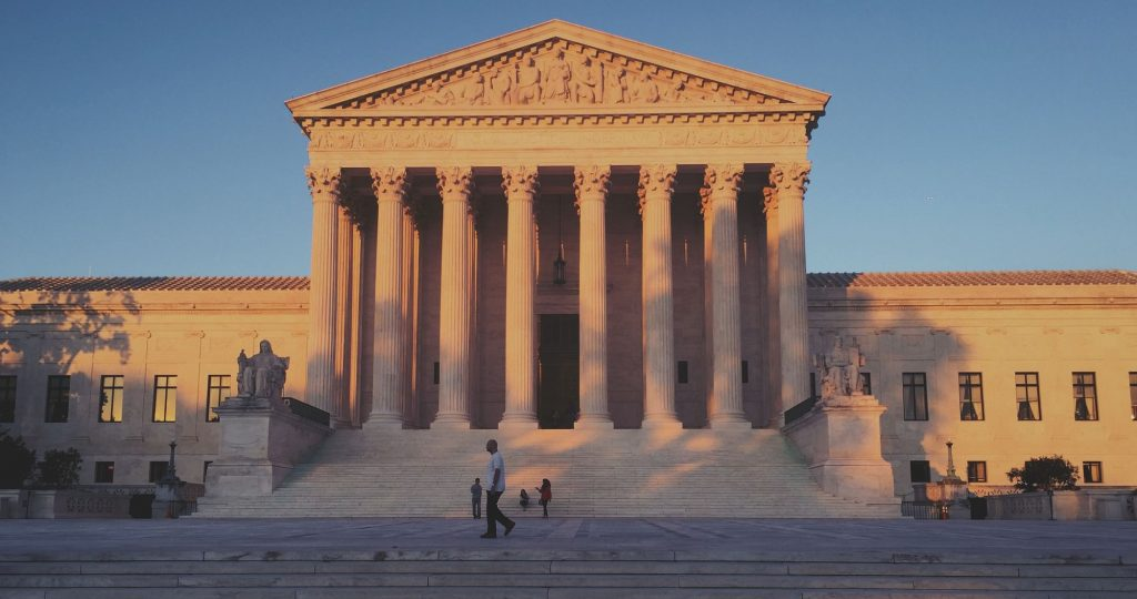 The Supreme Court of the United States at sunset